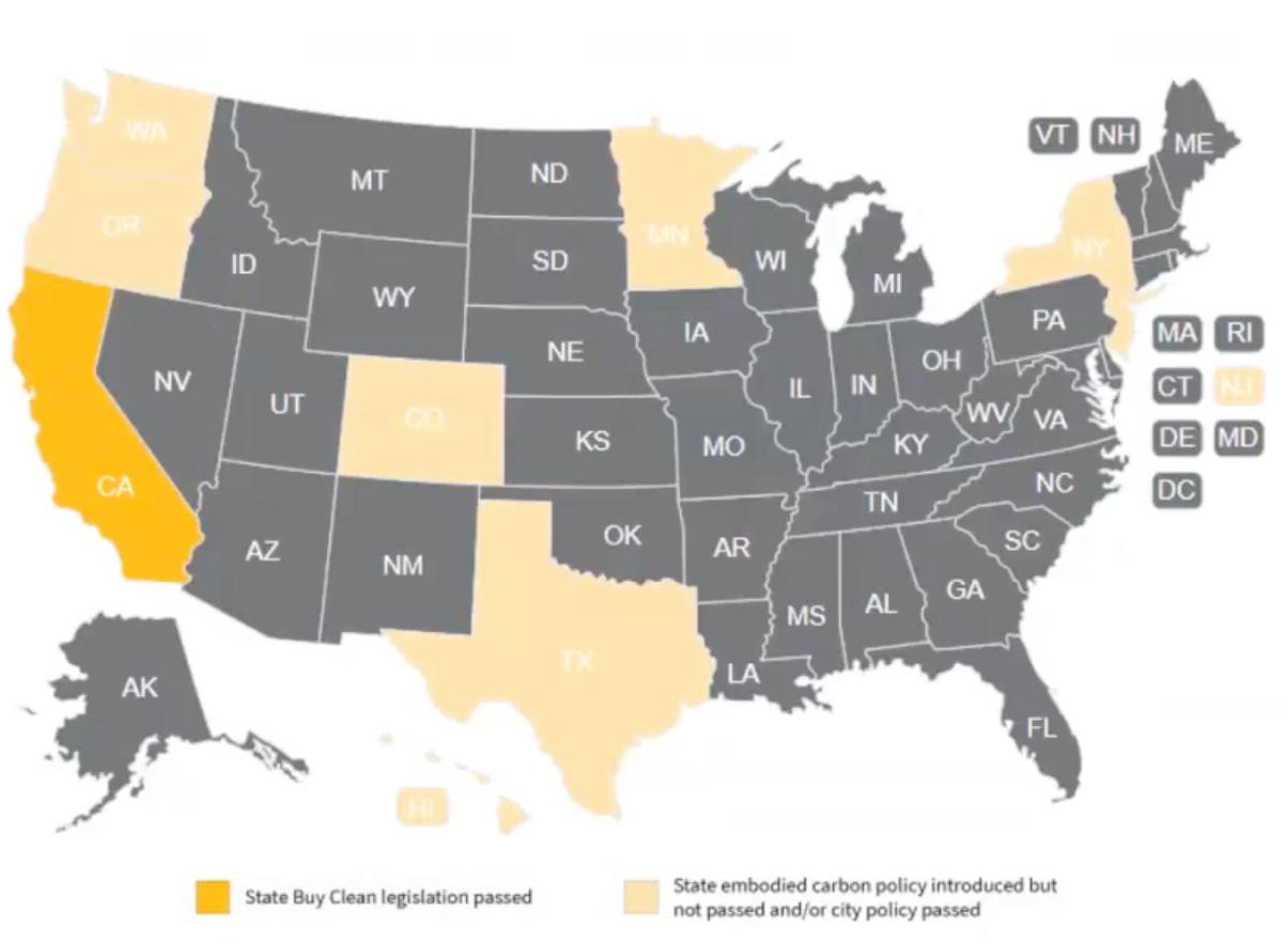 Buy Clean Legislation map