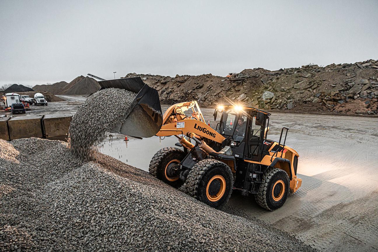 LiuGong 848H wheel loader gravel pile